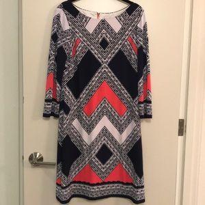 Vince Camuto geometric pattern long sleeve dress